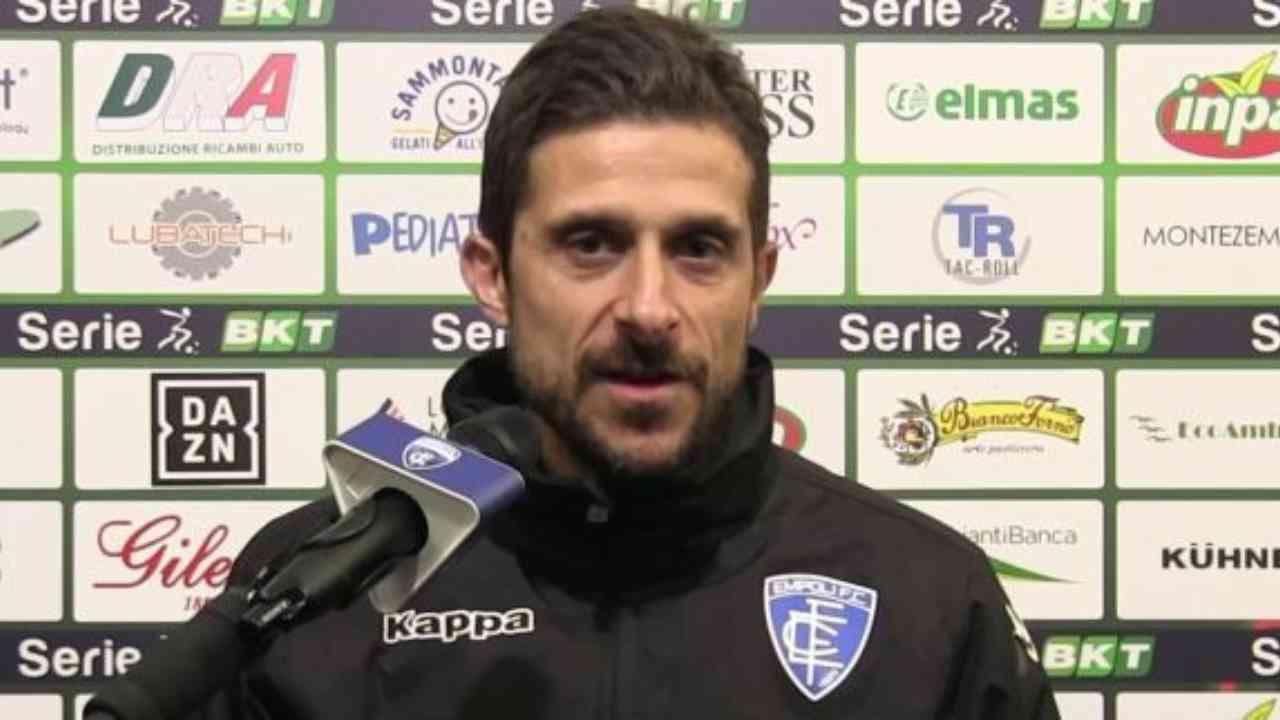 Empoli, l'allenatore Alessio Dionisi in conferenza stampa (foto © Empoli FC)