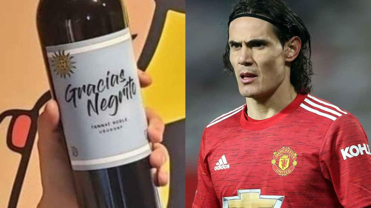 """Da sinistra: il vino tannat """"Gracias Negrito"""" di Silvina Rosas e l'attaccante del Manchester United Edinson Cavani"""