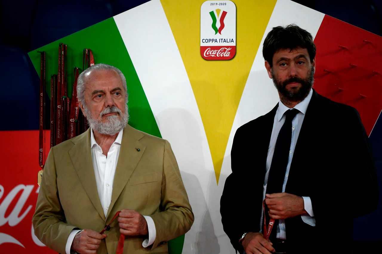 Aurelio De Laurentiis e Andrea Agnelli, presidenti di Napoli e Juventus. Getty Images