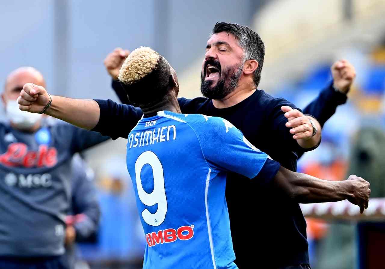 L'esultanza di Osimhen e Gattuso. Getty Images