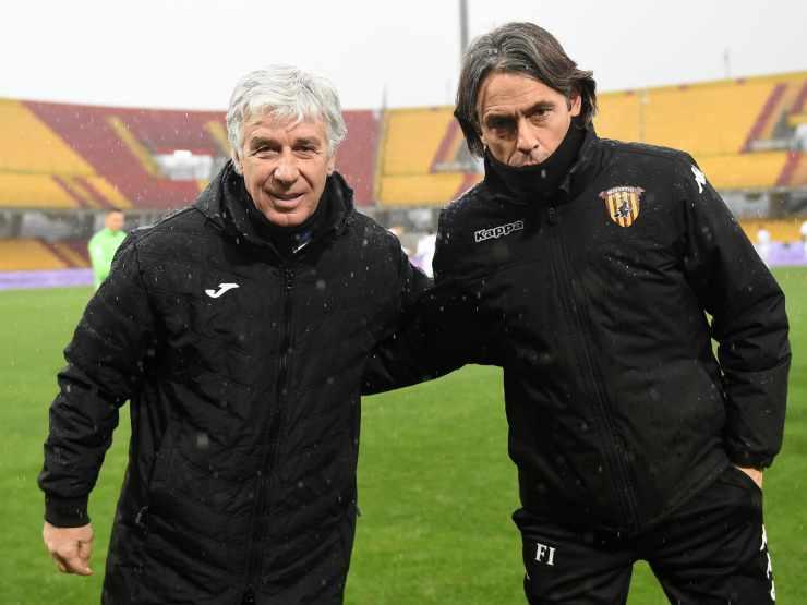 Da sinistra: il tecnico dell'Atalanta Gian Piero Gasperini e il tecnico del Benevento Pippo Inzaghi, 9 gennaio 2021 (foto di Francesco Pecoraro/Getty Images)