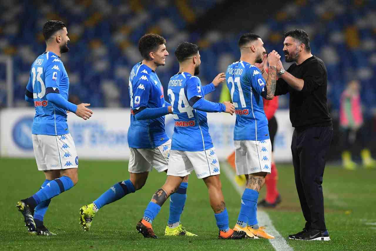 L'esultanza del Napoli dopo il 2-0 contro il Parma. Getty Images