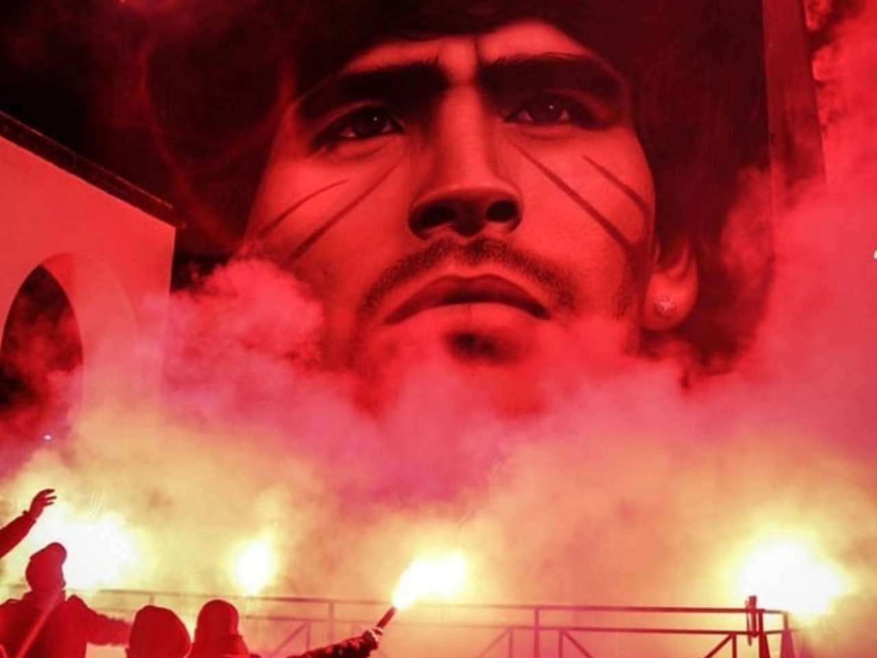 Il murale a Quarto dedicato a Diego Armando Maradona. Foto Instagram Jorit