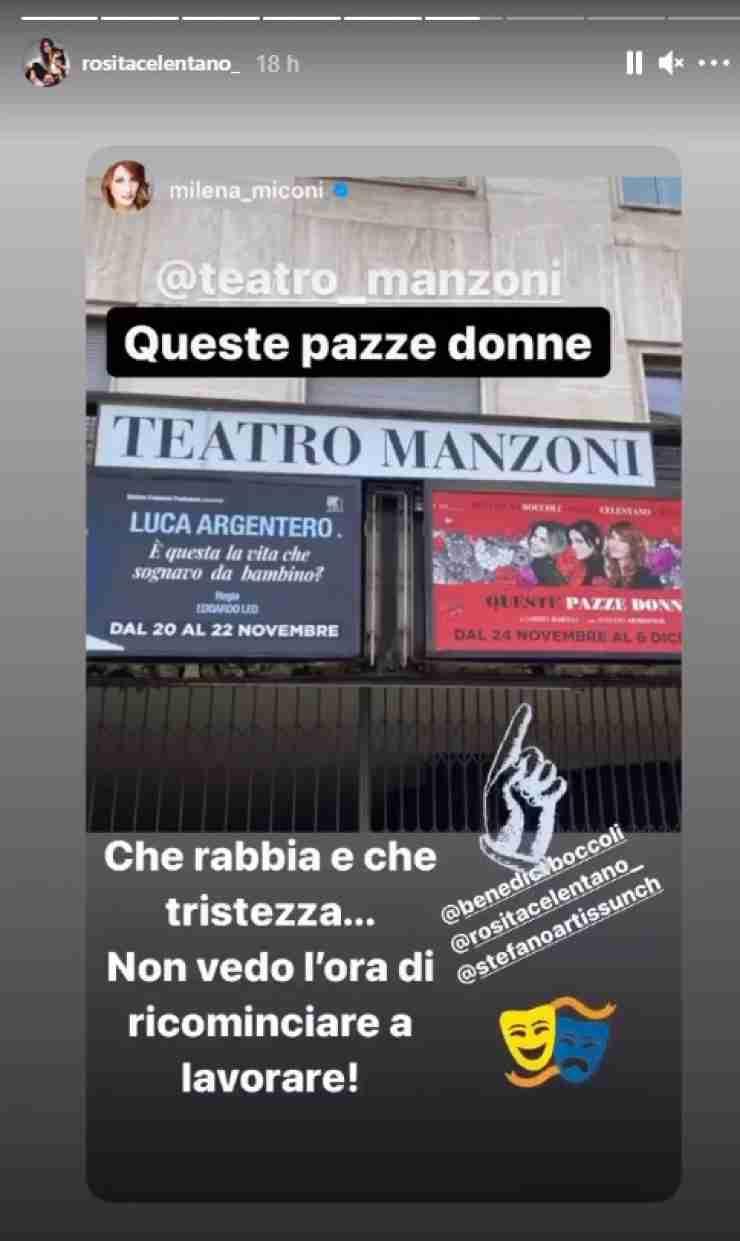 Il post di Milena Miconi condiviso da Rosita - Fonte Instagram