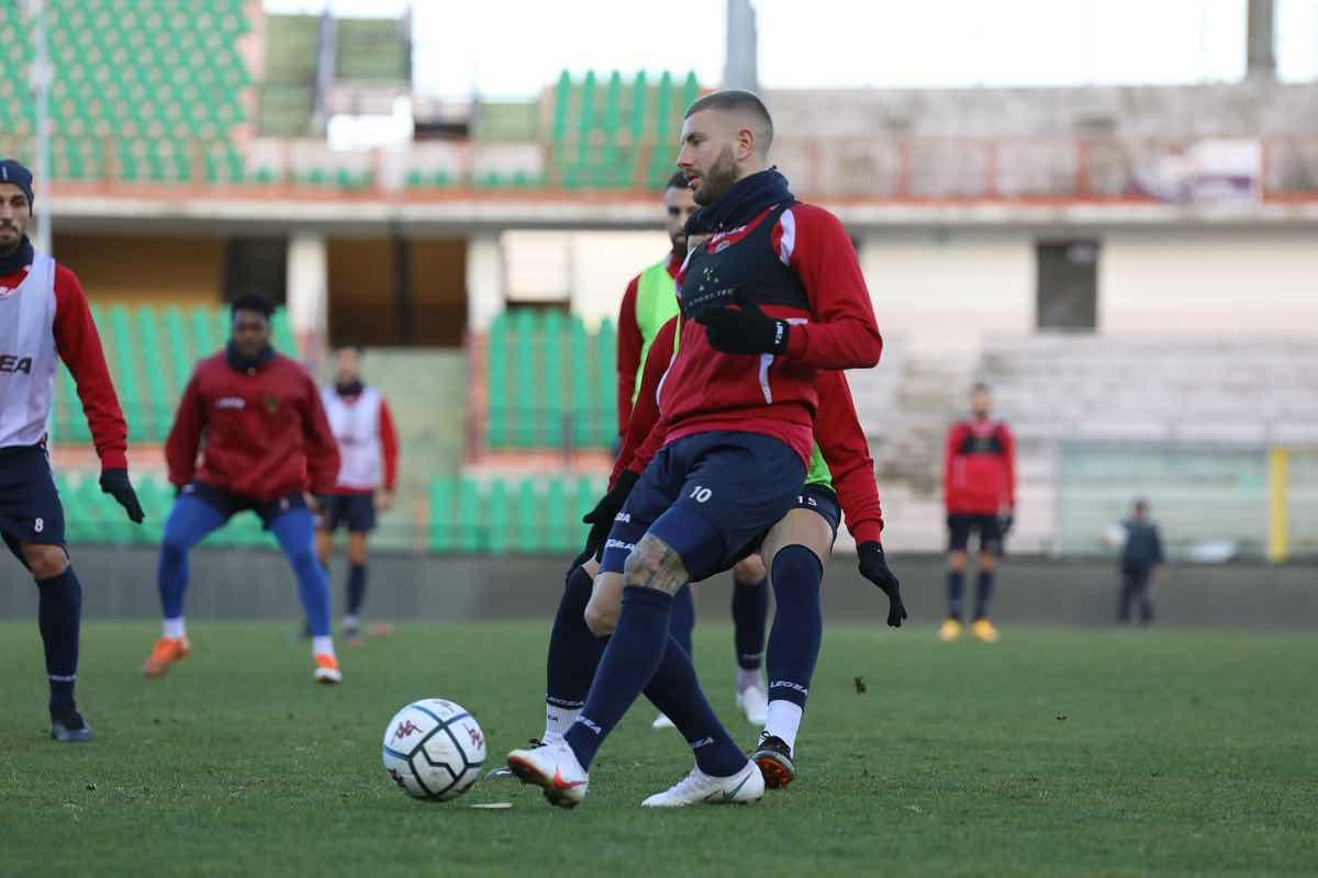 Mirko Carretta durante una seduta di allenamento
