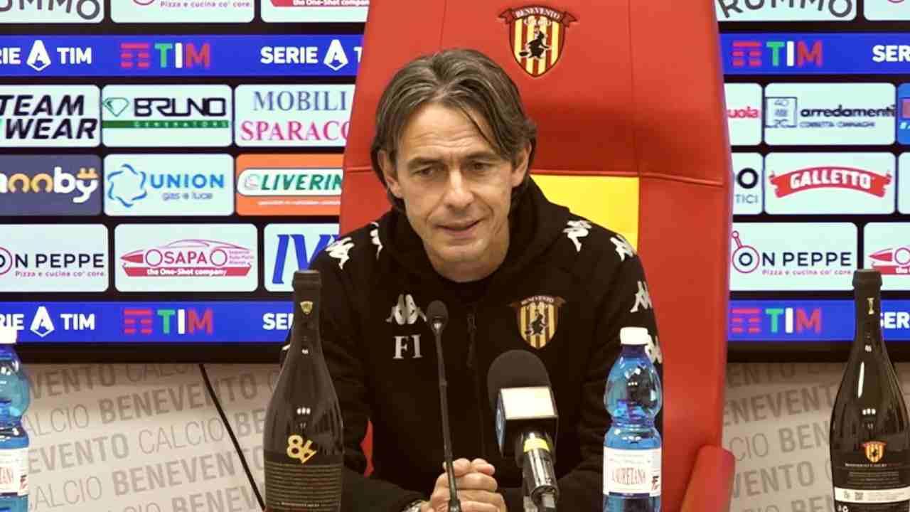 Benevento, l'allenatore Pippo Inzaghi in conferenza stampa (foto © Benvento Calcio)