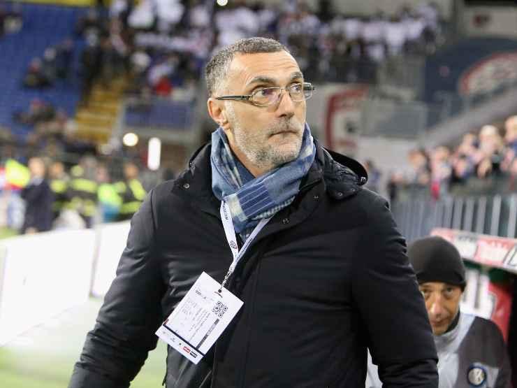 L'ex calciatore e cronista Sky Beppe Bergomi a bordocampo durante la gara Cagliari-Inter, 1 marzo 2019 (foto di Enrico Locci/Getty Images)
