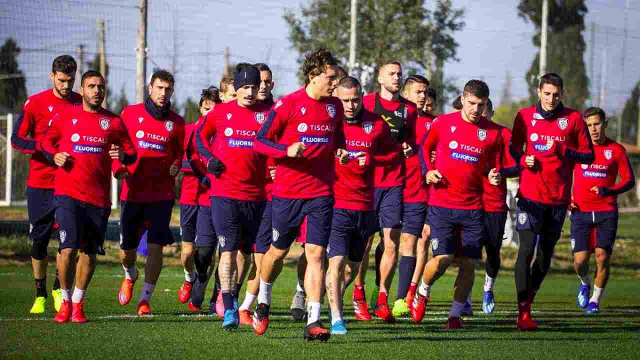 Cagliari, la squadra in allenamento, marzo 2020