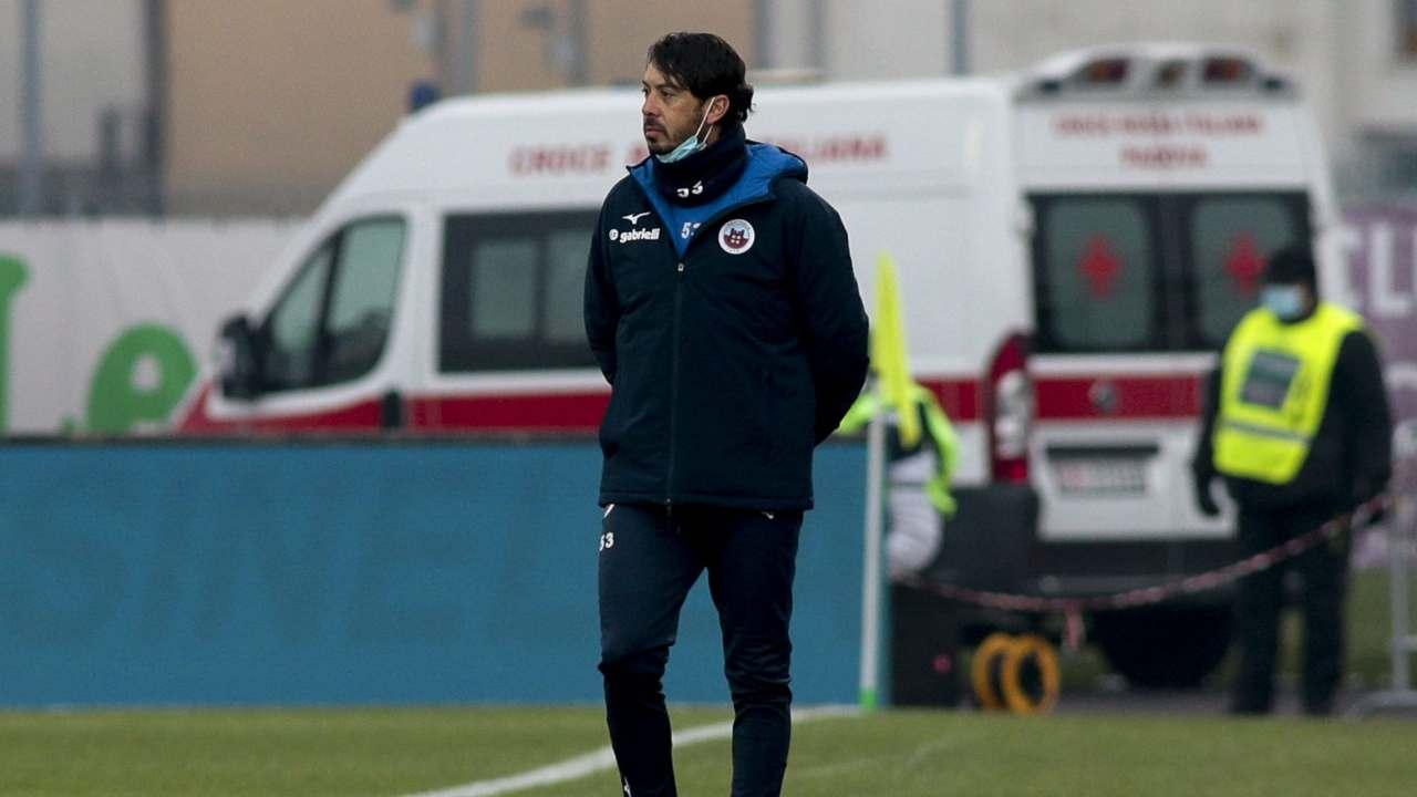 Cittadella, l'assistente tecnico Roberto Musso, in panchina durante l'assenza di Roberto Venturato. 4 gennaio 2021 (foto © Cittadella dello Sport)