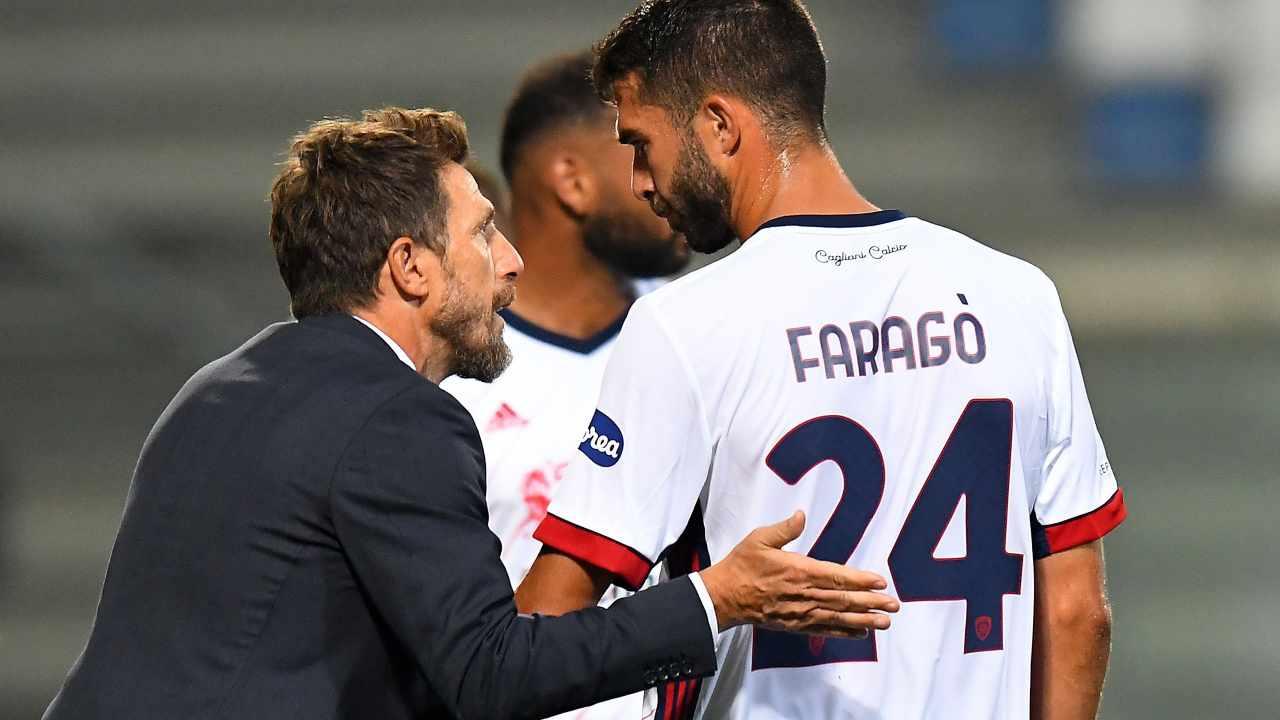 Cagliari, l'allenatore Eusebio Di Francesco dà istruzioni a Paolo Faragò, 20 settembre 2020 (foto di Alessandro Sabattini/Getty Images)