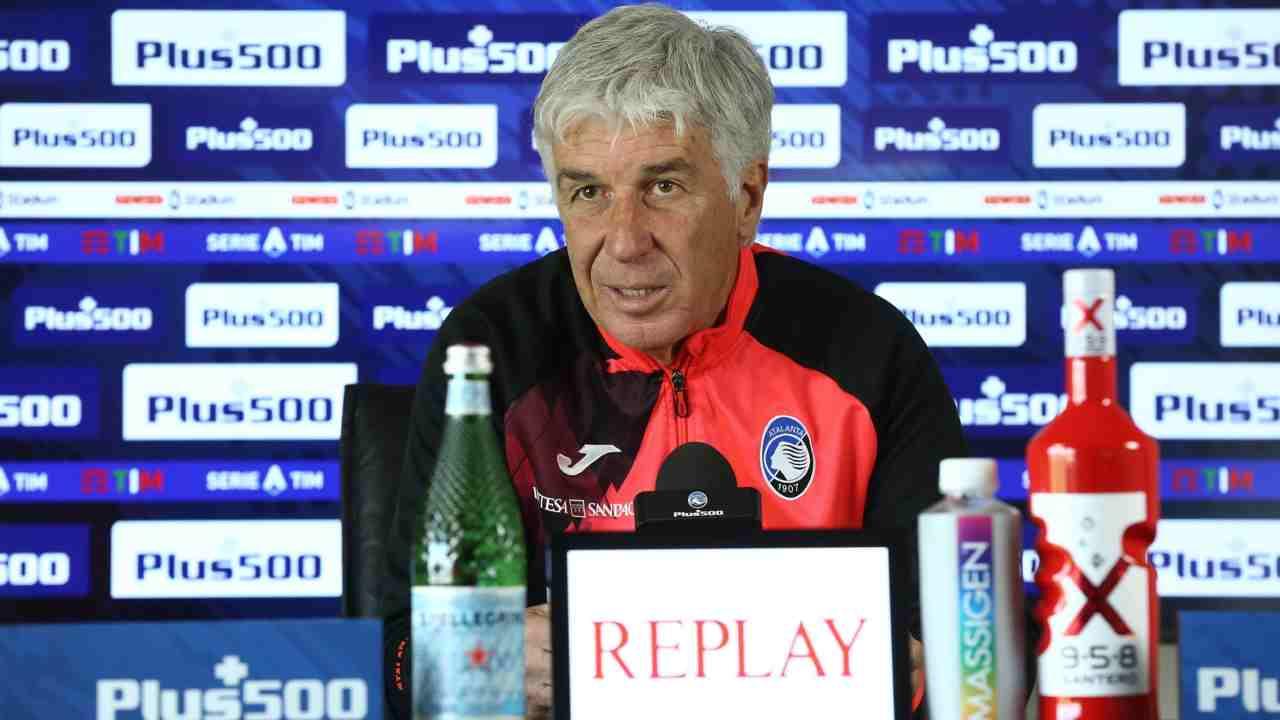 Atalanta, l'allenatore Gian Piero Gasperini in conferenza stampa (foto © Atalanta Bergamasca Calcio)