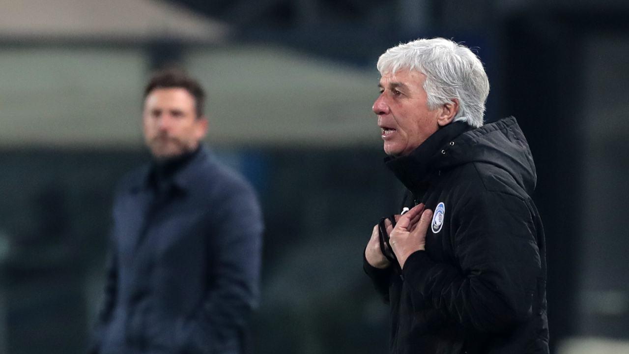 Da destra: il tecnico dell'Atalanta Gian Piero Gasperini ed il tecnico del Cagliari Eusebio Di Francesco durante la partita di Coppa Italia del 14 gennaio 2021 (foto di Emilio Andreoli/Getty Images)
