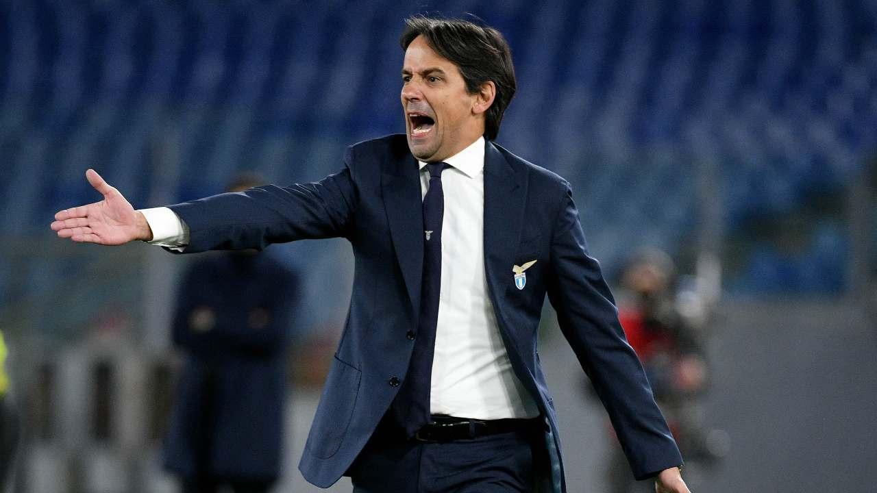 Lazio, l'allenatore Simone Inzaghi durante la partita con la Roma, 15 gennaio 2021 (foto di Marco Rosi - SS Lazio/Getty Images)