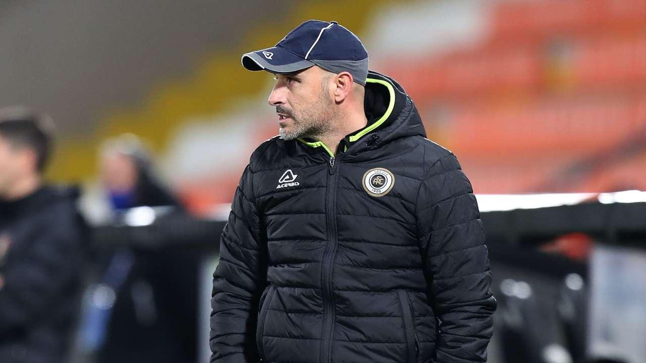 Spezia, l'allenatore Vincenzo Italiano a bordocampo durante la partita con la Sampdoria, 11 gennaio 2021 (foto di Gabriele Maltinti/Getty Images)