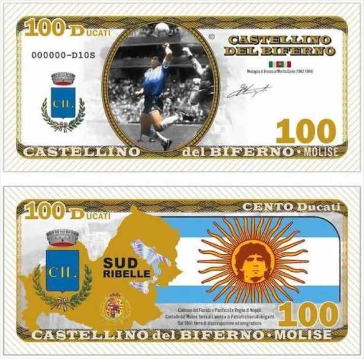Castellino del Biferno, banconota da 100 ducati. Edizione speciale con il volto di Maradona, anno 2021