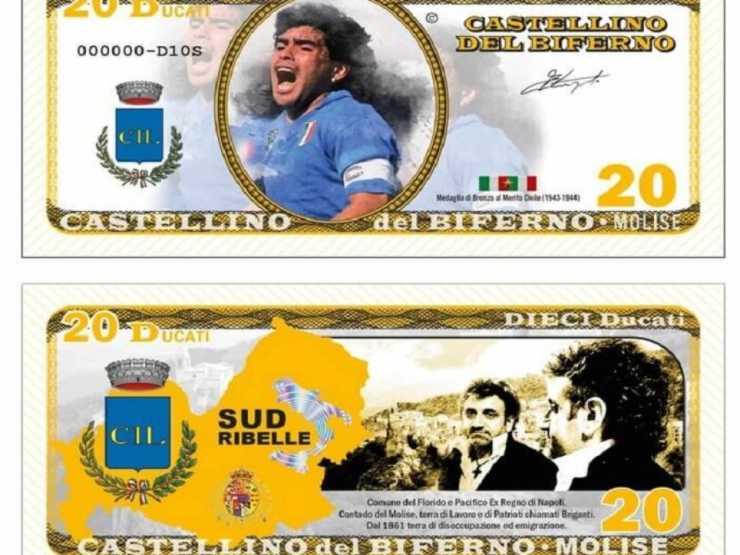 Castellino del Biferno, banconota da 20 ducati. Edizione speciale con il volto di Maradona, anno 2021
