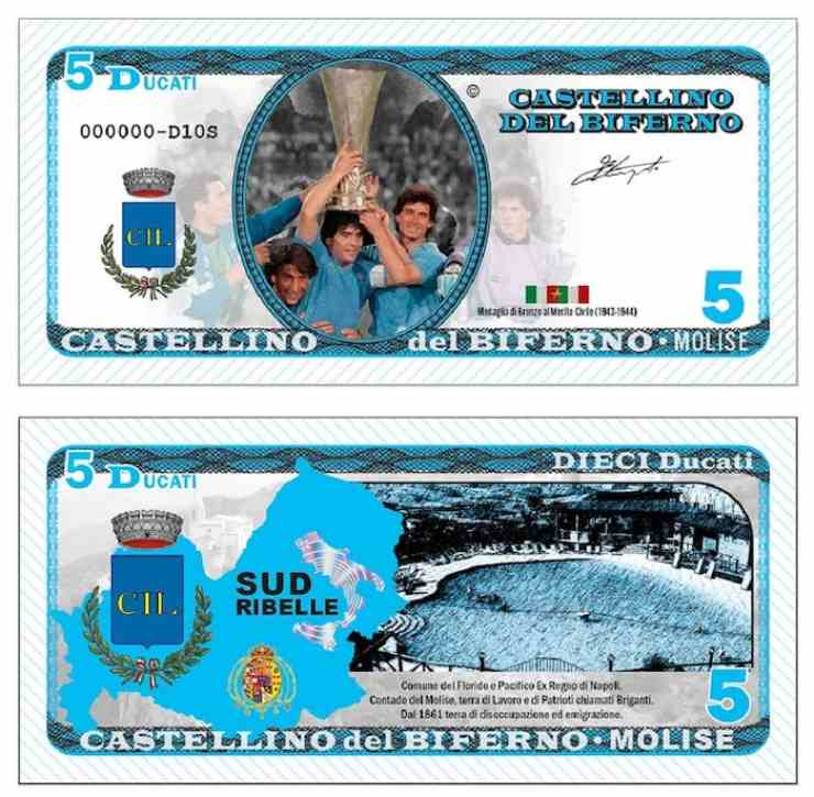 Castellino del Biferno, banconota da 5 ducati. Edizione speciale con il volto di Maradona, anno 2021