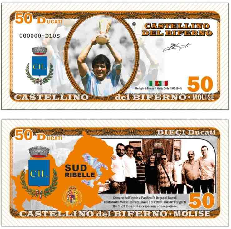 Castellino del Biferno, banconota da 50 ducati. Edizione speciale con il volto di Maradona, anno 2021