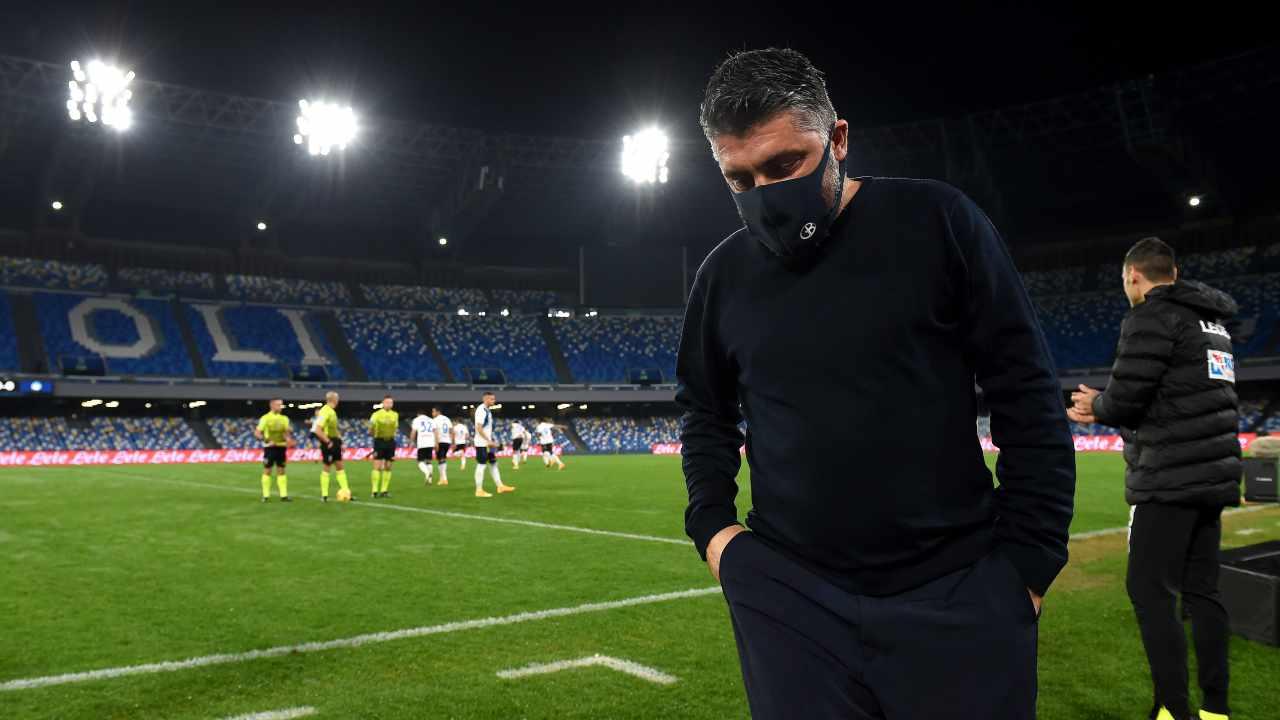 Napoli, l'allenatore Gennaro Gattuso durante la partita di andata della semi-finale di Coppa Italia del 3 febbraio 2021 (foto di Francesco Pecoraro/Getty Images)