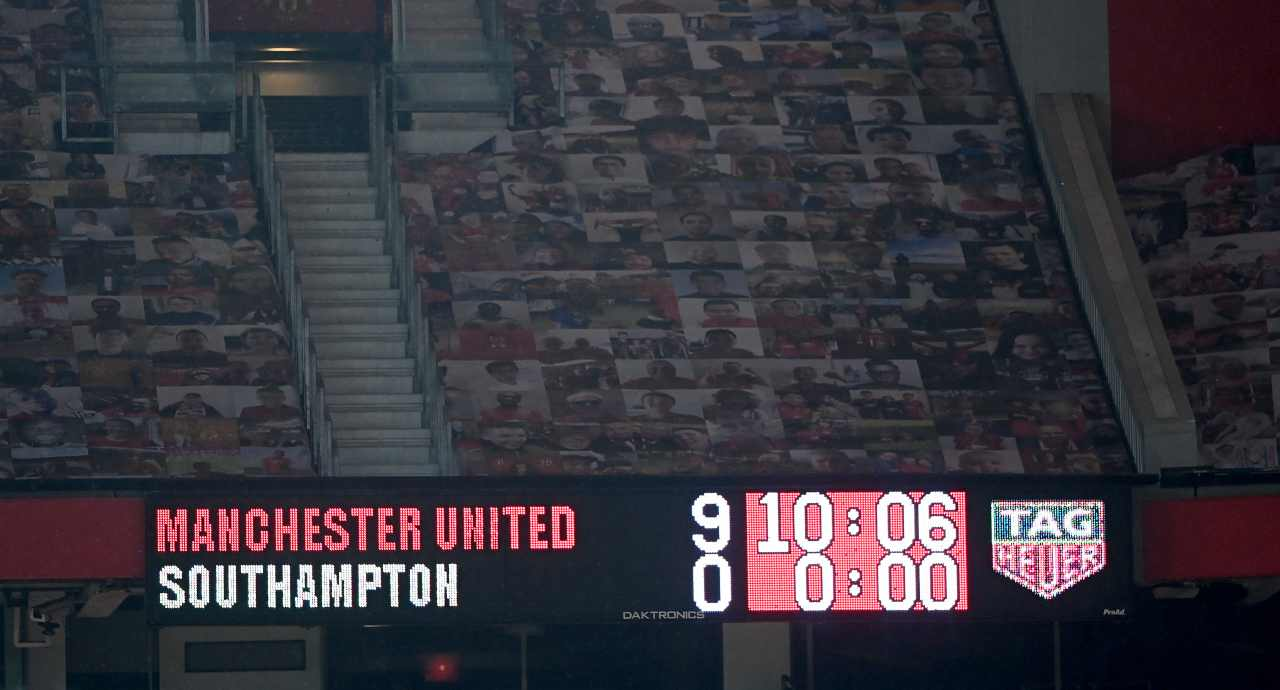Il tabellone dell'Old Trafford (Photo by Laurence Griffiths/Getty Images)
