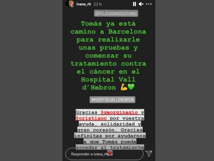 La Storia pubblicata su Instagram dalla sorella di Giorgina, la fidanzata del calciatore Cristiano Ronaldo (fonte: Instagram @ivana_rh)